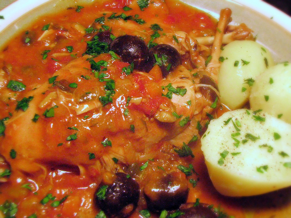 Provencal Rabbit Stew with Olives and Capers‏