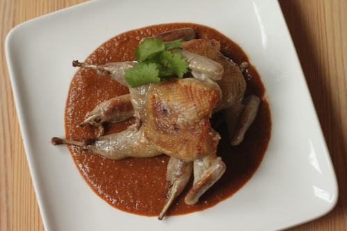 Smoky Peanut Mole with Grilled Quail