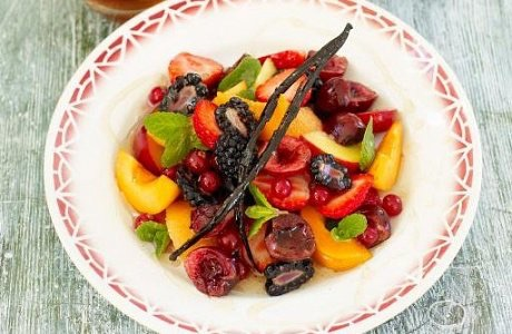 Summer fruit plate with lime, mint & vanilla syrup
