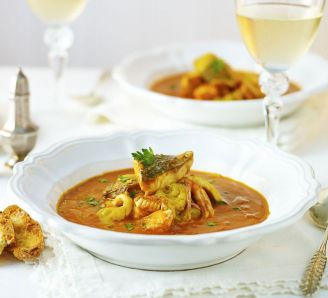 Fish stew with roast garlic & saffron
