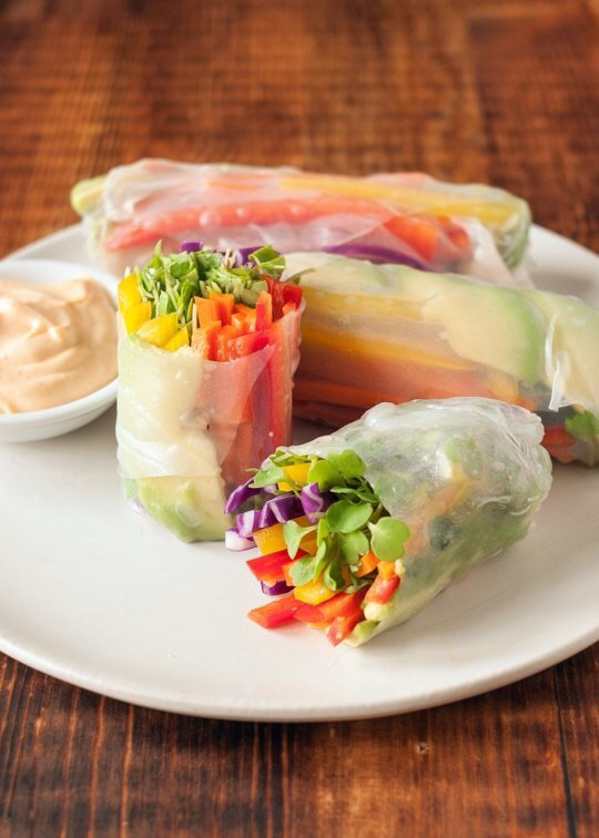 Rainbow Vegetables Spring Rolls