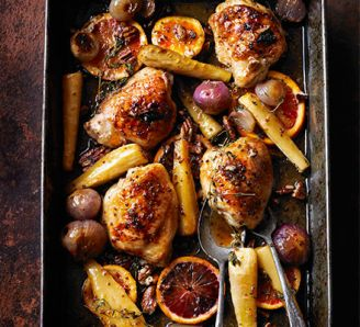 Sticky orange chicken with parsnips, maple & pecans