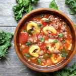 Slow Cooker Sausage Kale and Tortellini Soup
