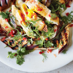 Grilled eggplants with crispy eggs