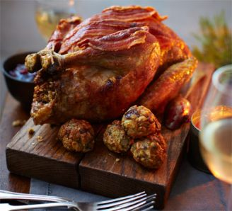 Roast guinea fowl with chestnuts, sage & lemon stuffing