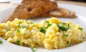 creamy scrambled eggs with herbs