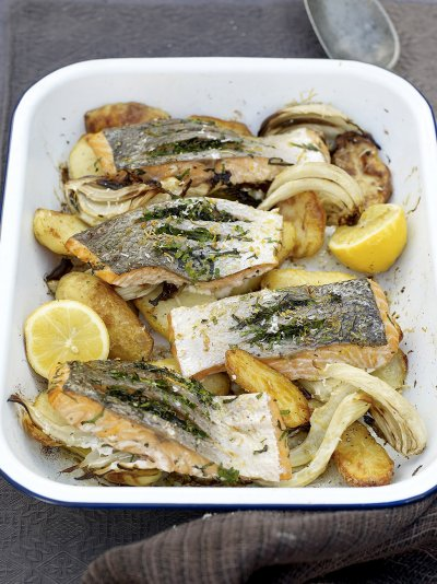 Al forno, salmon and potato